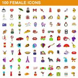 100 female icons set, cartoon style. 100 female icons set in cartoon style for any design illustration stock illustration