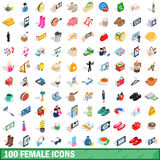 100 female icons set, isometric 3d style. 100 female icons set in isometric 3d style for any design vector illustration Stock Photo