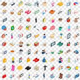 100 female icons set, isometric 3d style Royalty Free Stock Image