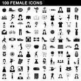 100 female icons set, simple style. 100 female icons set in simple style for any design illustration stock illustration