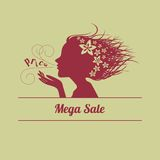 Female image blows word price. Sale. Vector illustration Royalty Free Stock Image