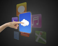 Female index finger touching cloud icon button with colorful app. S, on black background Stock Image
