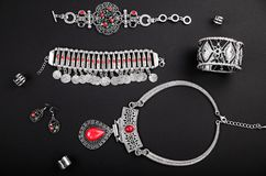 Female indian jewellery and accessories Royalty Free Stock Images