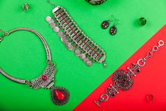 Female indian jewellery and accessories Stock Photo