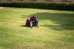 Female Indian mow hand lawn with green grass. Hard work of poor people in India. Jaipur India, January 22, 2017. Female Indian mow hand lawn with green grass Stock Images