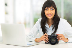 Female indian photographer Royalty Free Stock Images