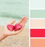Female indicated holding two hearts.  color palette swatches. Stock Photos