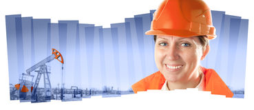 Female industrial worker in an oil field. Collage composition. Stock Photos