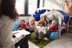 Female infant school teacher sitting on a chair reading a book to a group of children sitting on bean bags in a comfortable corner. Of the classroom, elevated royalty free stock image
