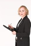 Female inspector #10. Female inspector lookingright int oyour eyes Royalty Free Stock Image