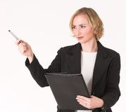 Female inspector #4. Female inspector pointing, taking stock Royalty Free Stock Photos