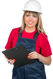 Female inspector with notebook Royalty Free Stock Images