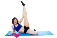 Female instructor doing her aerobic routine Royalty Free Stock Image