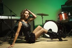 Female with instruments Royalty Free Stock Photography