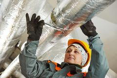 Female insulation worker Royalty Free Stock Photos