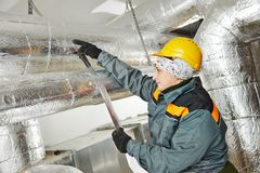 Female insulation worker royalty free stock photography