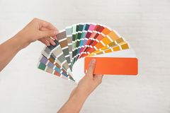 Female interior designer with color palette samples on light background. Closeup royalty free stock images