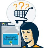 Female Internet Shopper Shopping Cart Stock Image