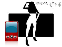 Female and ipod. On abstract background royalty free illustration