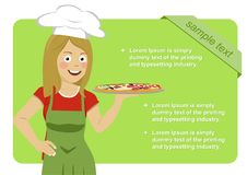 Female italian chef holding pizza over green banner with copyspace for your test. Female italian chef holding tasty pizza over green banner with copyspace for Stock Photography