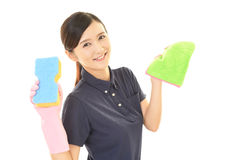 A female Janitorial cleaning service Stock Images
