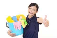 A female Janitorial cleaning service Royalty Free Stock Images