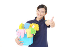 A female Janitorial cleaning service. Portrait of an Asian woman Royalty Free Stock Image