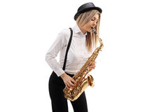 Female jazz musician playing a saxophone Royalty Free Stock Images