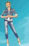 Female Jean Model. This is a Vector I made of a Female Jean model Stock Image