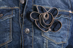 Female jeans. Jacket detail of front stock image
