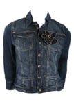 Female jeans jacket. Isolated on white Stock Photos