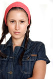 Female in jeans shirt Royalty Free Stock Images