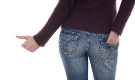 Female in jeans standing Stock Photos