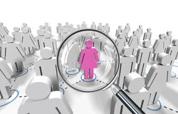 Female job search. Render 3d Stock Image