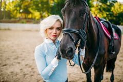 Female jockey and horse, horseback riding. Equestrian sport, young woman and beautiful stallion, farm animal Stock Image