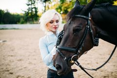 Female jockey and horse, horseback riding. Equestrian sport, young woman and beautiful stallion, farm animal Stock Images