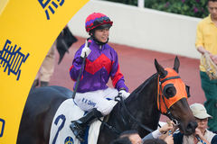 Female Jockey Kei Chiong Ka-kei in Hong Kong Stock Image