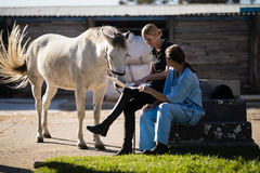 Female jockey with vet using laptop while sitting by horse. At barn Royalty Free Stock Image