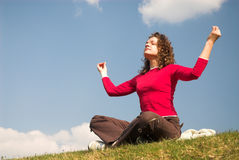 Female joga. Pretty girl is meditating on the air stock images
