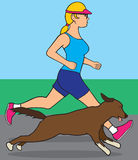 Female jogger with dog Royalty Free Stock Photos