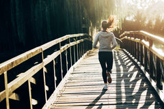 Female jogger exercising outdoors Stock Photography