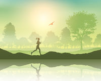 Female jogging in the countryside Stock Photography