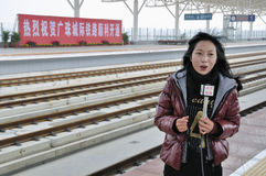 Female journalist Stock Photography