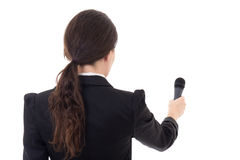 Female journalist with microphone isolated on white Stock Photography