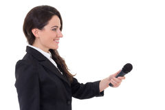 Female journalist with microphone isolated on white background Royalty Free Stock Image