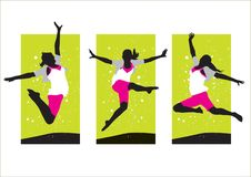 Female jumping in air Stock Image