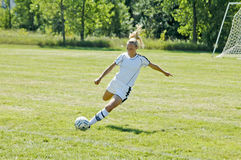 Female Junior College Soccer Action Royalty Free Stock Photos