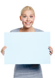 Female keeping huge sheet of paper Stock Photography