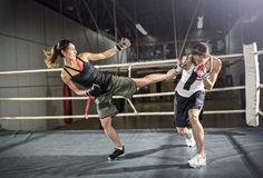 Female kick boxer practicing Royalty Free Stock Images