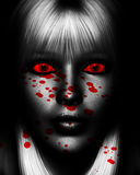 Female Killer. Close up of a sinister female serial killer covered in blood Royalty Free Stock Image